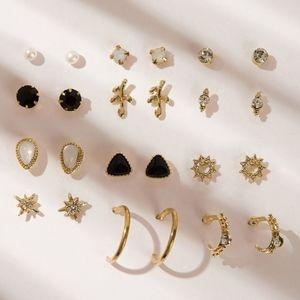 12PK Gold Star Pearl Delicate Stud & Hoop Set